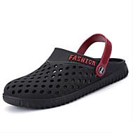 Masculino-Sandálias-Outro Solados com Luzes Buraco Shoes-Rasteiro-Preto Azul Cinza-Couro Ecológico-Casual