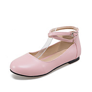 Damen-Flache Schuhe-Lässig-PU-Flacher Absatz-Ballerina-Schwarz Blau Rosa Rot Weiß