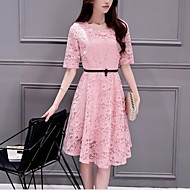 Women's Lace Plus Size Simple Skater Dress,Plaid Stand Knee-length ½ Length Sleeve Blue / Red / White / Black Cotton Summer Mid Rise Inelastic