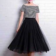 Women's A Line Solid Tulle Skirts,Going out Work Party/Cocktail Simple Cute Street chic Mid Rise Midi Elasticity Others Micro-elastic