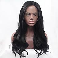 peruki czarne Kolor włosów włókien syntetycznych odpornych na ciepło ciała peruki syntetyczne koronki przodu fala włosów dla mody