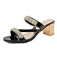 Feminino-Sandálias-Gladiador Sapatos clube-Salto Baixo Salto Grosso-Preto Roxo Prateado Dourado-Courino-Ar-Livre Escritório & Trabalho