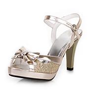 Feminino-Sandálias-Sapatos clube-Salto Agulha-Prateado Dourado-Courino-Casamento Social Festas & Noite