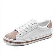 Damen-Sneaker-Outddor Büro Lässig Sportlich Work & Safety-Kunstleder-Flacher Absatz-Komfort Leuchtende Sohlen-Schwarz Weiß