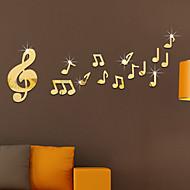 Musique Miroir Mode Stickers muraux Autocollants muraux 3D Miroirs Muraux Autocollants Autocollants muraux décoratifs,Verre Matériel