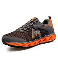 גברים-נעלי אתלטיקה-עור-אחר סוליות מוארות-שחור אדום כתום-שטח ספורט