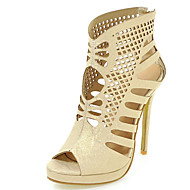 Women's Sandals Spring Summer Fall Leatherette Office & Career Dress Party & Evening Stiletto Heel Chain Gold White Black