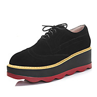 Women's Oxfords Spring Summer Fall Winter Comfort Cowhide Suede Office & Career Dress Casual Creepers Lace-up Black