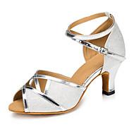 Sapatos de Dança(Prateado Dourado Bronze) -Feminino-Personalizável-Latina Moderna Salsa