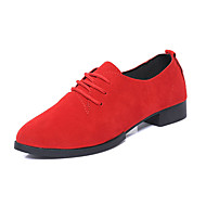 Dame-PU-Lav hæl-Komfort-Oxfords-Fritid-Svart Rød Grå