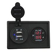 12V / 24V 3.1a kettős USB aljzat és vezetett áram mérő házzal tartó panel autó hajó teherautó rv
