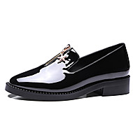 Women's Boat Shoes Spring Summer Fall Winter Bullock shoes Patent Leather Office & Career Dress Casual Chunky Heel Rhinestone ZipperBlack