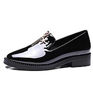 Damen-Bootsschuhe-Büro Kleid Lässig-Lackleder-Blockabsatz-Bullock Schuhe-Schwarz Rot