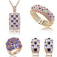 Jóias 1 Colar 1 Par de Brincos 1 Bracelete Anéis Cristal Festa Liga 1 Conjunto Feminino Púrpura Multicolorido Presentes de casamento