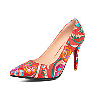 Women's Heels Spring Summer Fall Comfort Embroidered Shoes Silk Wedding Party & Evening Dress Stiletto Heel Flower Red Walking