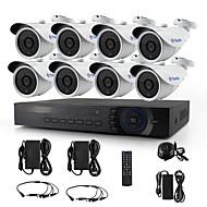 yanse® 8ch 720p d / п камеры видеонаблюдения ИК 36LED пуля водонепроницаемый проводной системы безопасности комплект ахд Видеорегистратор