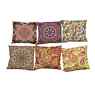 Set of 6 Retro floral  pattern Linen Pillowcase Sofa Home Decor Cushion Cover