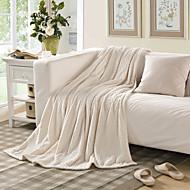 Tricotado Marfim,Em relevo Sólido 100% Poliéster cobertores 150*200