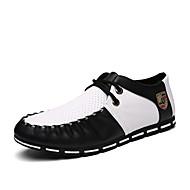 Herren-Sneaker-Lässig-PU-Flacher Absatz-paar Schuhe Komfort-Schwarz Weiß Schwarz-Weiss