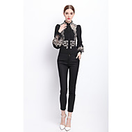 YZXH Women's Embroidery Work Cute Street chic Spring Fall ShirtFloral Round Neck Long Sleeve White Black Polyester Medium