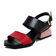 Women's Sandals Spring Summer Fall Cowhide Office & Career Dress Party & Evening Chunky Heel Buckle White Red