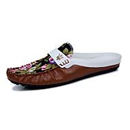 로퍼&슬립-온-야외 캐쥬얼-남성-조명 신발-PU-플랫-블랙 브라운 화이트