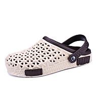 Γυναικεία παπούτσια-Σανδάλια-Ύπαιθρος Καθημερινό-Επίπεδο Τακούνι-τρύπα Παπούτσια-Δερμάτινο-Γκρι Μπεζ Σκούρο μπλε