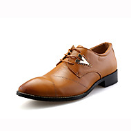 Men's Oxfords Spring Fall PU Casual Flat Heel Beading White Black Brown