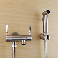 Bidet Faucets  ,  Traditional  with  Stainless Steel Two Handles One Hole  ,  Feature  for Wall Mount Pull out