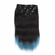 7pcs / juego de pinzas de 18 pulgadas en las extensiones de cabello humano 85g ombre destacó el pelo liso