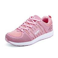 Feminino-Tênis-Conforto Solados com Luzes par sapatos-Rasteiro-Preto Cinzento Amarelo Vermelho Rosa claro-Tule-Ar-Livre Casual Para