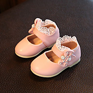 Bébé-Extérieure Décontracté-Blanc Rouge Rose-Talon Bas-Confort Flower Girl Chaussures-Ballerines-Similicuir