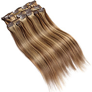 "9Pcs/Set Deluxe 120g F4/27 Mixed Brown Balayage Hair Clip In Hair Extensions 16"" 20"" 100% Human Hair"