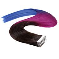 neitsi 20 '' 20szt 50g ombre wątkową skóry prostą taśmę w ludzkich włosów rozszerzeniach jakości klasy 5a T1B / fioletowy / niebieski #