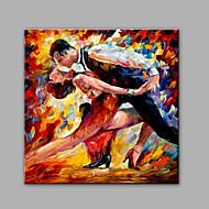 Ručně malované Abstraktní Lidé Čtvercový,Klasický Tradiční Jeden panel Plátno Hang-malované olejomalba For Home dekorace