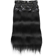 9pcs / set deluxe 120g klip na prodlužování vlasů tmavě černé 16inch 20inch 100% lidské vlasy pro ženy