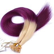 u는 인간의 옹 브르 # 613 / 보라색 네일 팁을 처녀 머리 연장 팁 각질 u는 바로 1g / s의 100strands / 많은 sillky 머리 확장 팁