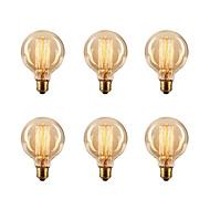 6pcs / lot G80 e27 40W Edison pære vintage retro lampe glødepæren (220-240)