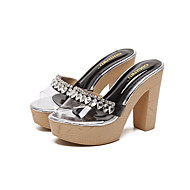 Heels Spring Summer Fall Comfort Silica Gel Dress Party & Evening Chunky Heel Rhinestone Black Almond