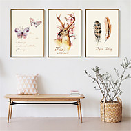 3D Art Print Framed Canvas Framed Set Wall Art Brown Mat Included With Frame  Cartoon Colorful hand-painted animals L(53cm*73cm) XL(63cm*83cm)