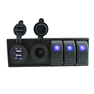 DC 12V/24V LED Digital 3.1A dual USB charger power Socket with toggle rocker switches jumper wires and housing holder