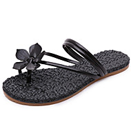 Women's Sandals Spring Summer Fall Comfort PU Dress Casual Flat Heel Applique Black Pink Sliver