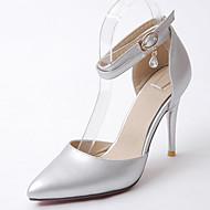 סנדלים-דמוי עור-נעלי מועדון שפיץ ושני חלקים-זהב שחור כסף-חתונה משרד ועבודה מסיבה וערב-עקב סטילטו