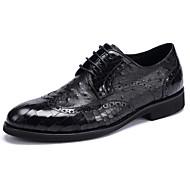 Oxfords-sapatos Bullock-Rasteiro-Preto Café-Couro-Casamento Escritório & Trabalho Casual Festas & Noite