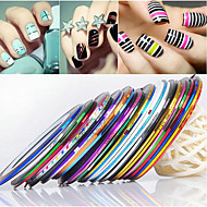 24PCS Mixs Color Striping Tape Line Nail Stripe Tape Nail Art Decoration Sticker