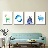 3D Framed Art Print Framed Canvas Framed Set Wall Art Brown Mat Included With Frame Hand-painted Cartoon Abstract L(53cm*73cm) XL(63cm*83cm)