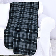 Flannel Blue Printed Plaid 100% Polyester Blankets 127x152cm