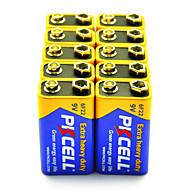 pkcell 6f22 9V פחמן סוללת אבץ 10 חבילת כבדות נוספת