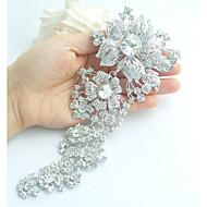 Women's Trendy Alloy Silver-tone Rhinestone Crystal Flower Wedding Bridal Brooch Pin