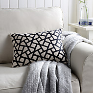 1 pcs Embroidered Geometric Classic Linen Pillow With Insert 12*16 inch